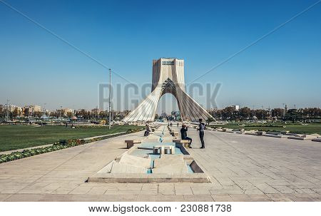 Tehran, Iran - October 15, 2016: View On Azadi Square With One Of The Most Famous Tehran Landmarks -