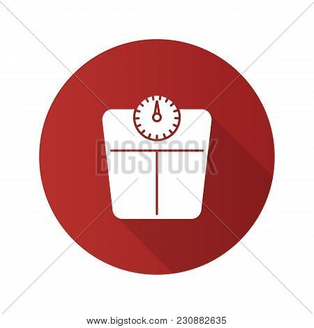 Bathroom Scales Flat Design Long Shadow Glyph Icon. Floor Scales. Mass Measuring Device. Vector Silh