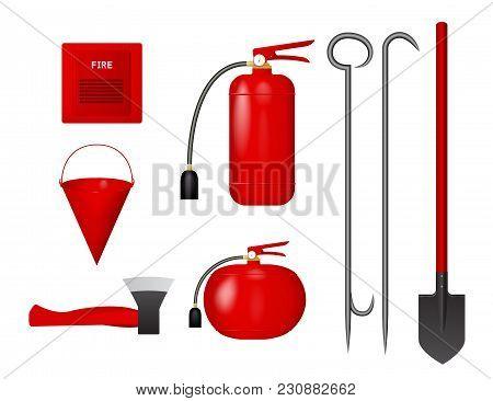 A Set Of Fire Tools. Vector Illustration. Fire Extinguisher, Bucket, Axe, Shovel, Crowbar Fire Detec
