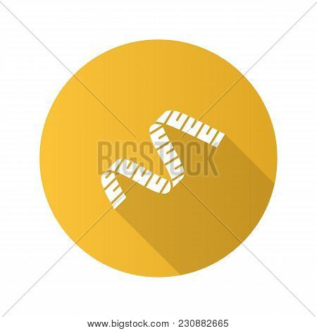 Measuring Tape Flat Design Long Shadow Glyph Icon. Sewing Meter. Vector Silhouette Illustration