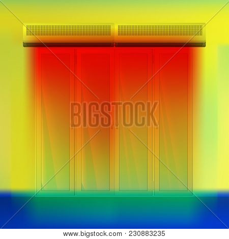 Double Air Curtain Above Door Vector Illustration. Hot Airflow For A Thermal Imager. Colored Thermog