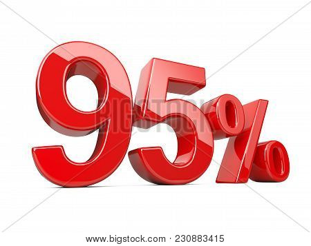 Ninety Five Red Percent Symbol. 95% Percentage Rate. Special Offer Discount. 3d Illustration Isolate
