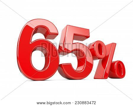 Sixty Five Red Percent Symbol. 65% Percentage Rate. Special Offer Discount. 3d Illustration Isolated