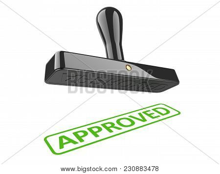 Black Rubber Stamp With Green Word - Approved. 3d Illustration Isolated Over A White.