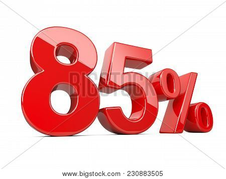 Eighty Five Red Percent Symbol. 85% Percentage Rate. Special Offer Discount. 3d Illustration Isolate