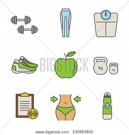 Fitness Color Icons Set. Dumbbells, Leggings, Floor Scales, Sneakers, Apple, Kettlebells, Exercise G