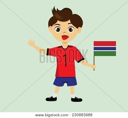 Fan of Gambia national football, hockey, basketball team, sports. Boy with Gambia flag in the colors of the national command with sports paraphernalia. Boy with Gambia flag in the form of a sport. poster