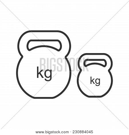 Kettlebells Linear Icon. Exercise Weights. Thin Line Illustration. Sports Equipment. Contour Symbol.