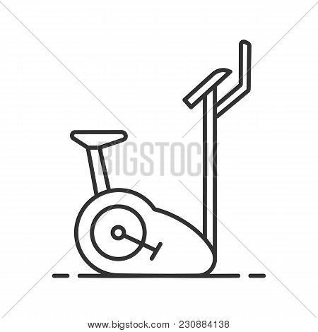Exercise bike linear icon. Thin line illustration. Stationary bicycle. Contour symbol. Vector isolated outline drawing poster
