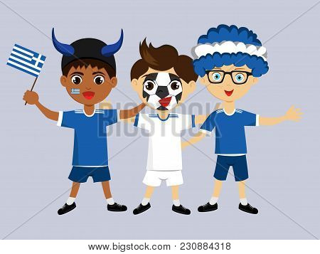 Fan Of Greece National Football, Hockey, Basketball Team, Sports. Boy With Greece Flag In The Colors