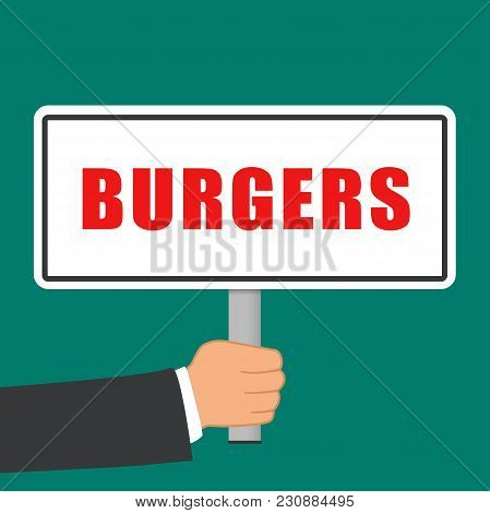 Illustration Of Burgers Word Sign Flat Concept