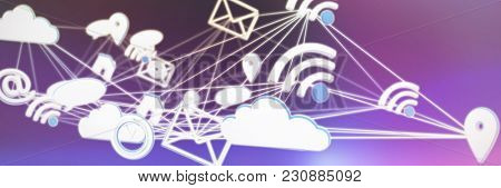 Lines connecting various networking icons against pink and purple background