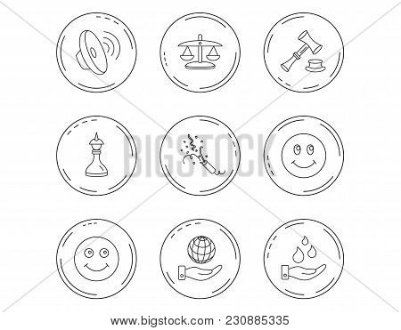 Scales Of Justice, Auction Hammer And Strategy Icons. Save Planet And Water Linear Signs. Smile, Sla