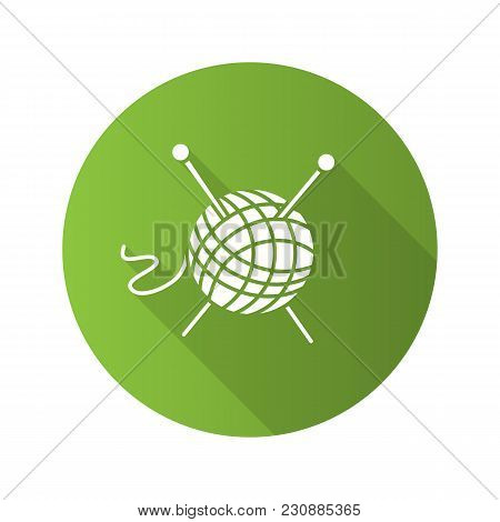 Wool Clew With Knitting Needles Flat Design Long Shadow Glyph Icon. Yarn Ball. Vector Silhouette Ill