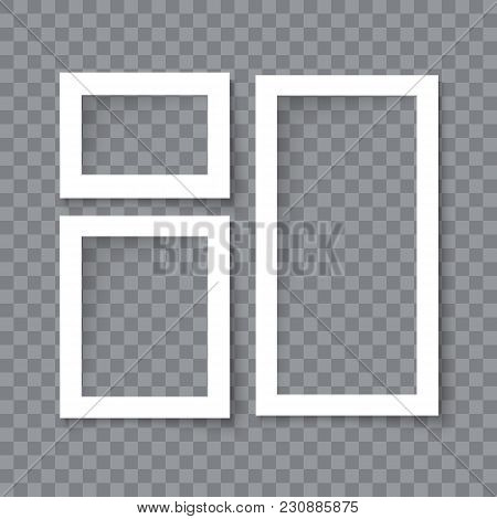 Set Of Realistic Vector Blank Photo Frames With Shadow Effects Isolated On Transparent Background. D
