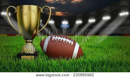 American Football Arena With Ball And Trophy Cup On Green Grass Illumination At Night, 3d Rendering
