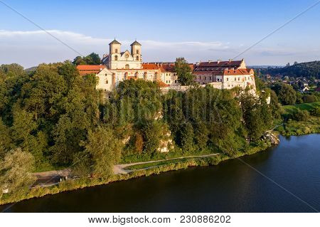 Benedictine Monastery On The Rocky Hill In Tyniec Near Cracow, Poland, And Vistula River. Aerial Vie