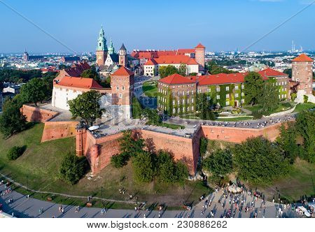 Krakow, Poland. Wawel Hill With Cathedral, Royal Castle, Defensive Walls, Park, Promenade And Unreco