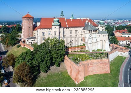 Historic Royal Wawel Castle And Cathedral In Krakow, Poland, With Defensive Walls And A Garden. Aeri