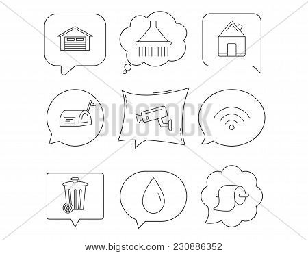 Wi-fi, Video Monitoring And Real Estate Icons. Toilet Paper, Shower And Water Drop Linear Signs. Tra