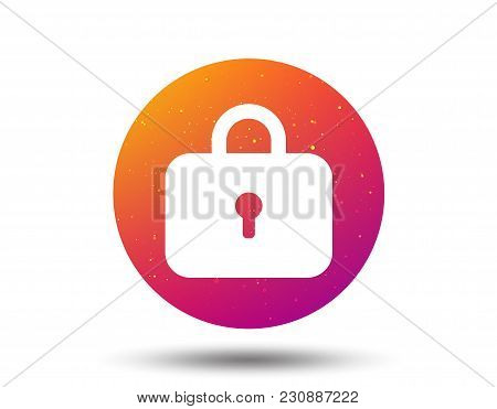 Lock Icon. Privacy Locker Sign. Closed Access Symbol. Circle Button With Soft Color Gradient Backgro