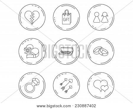 Love Heart, Gift Box And Wedding Rings Icons. Broken Heart And Couple Linear Signs. Valentine Amour