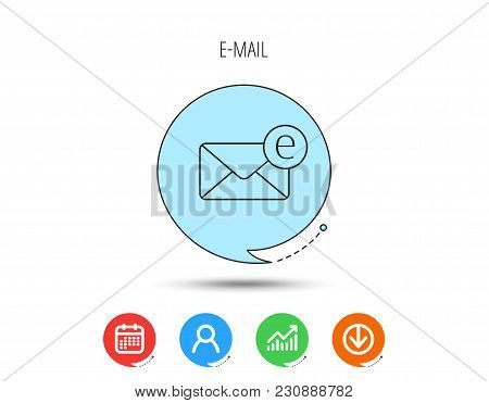 Envelope Mail Icon. Email Message Sign. Internet Letter Symbol. Calendar, User And Business Chart, D