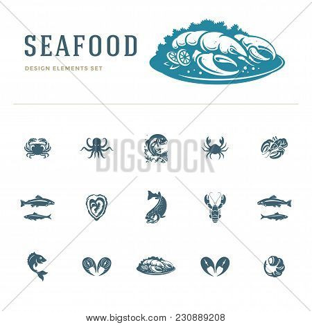 Seafood Icons And Silhouettes Isolated On White Set Vector Illustration. Good For Seafood Restaurant