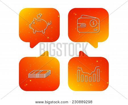 Piggy Bank, Cash Money And Dynamics Chart Icons. Usd Wallet Linear Sign. Orange Speech Bubbles With