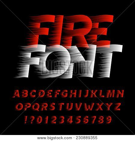 Fire Alphabet Font. Eeffect Type Letters And Numbers On Black Background. Stock Vector Typeface. Eas