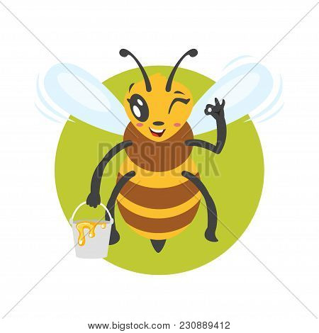 Vector Cartoon Style Illustration Of Bee Character Holding Bucket Of Honey  Showing An Okay Gesture