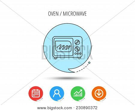 Microwave Oven Icon. Kitchen Appliance Sign. Calendar, User And Business Chart, Download Arrow Icons