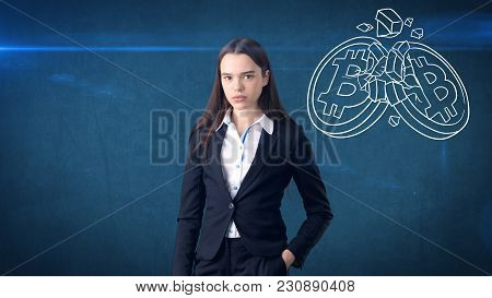 Successful Business Woman Standing Near Btc Logo. She Needs To Buy Or Sell Bitcoin. Concept Of Virtu