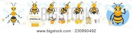 Vector Cartoon Style Bee Cute Character For Animation. Different Emotions, Hands Gestures And Beekee