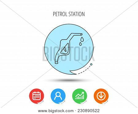 Gasoline Pump Nozzle Icon. Gas Or Petrol Station Sign. Calendar, User And Business Chart, Download A