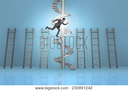 Career progression concept with ladders and staircase