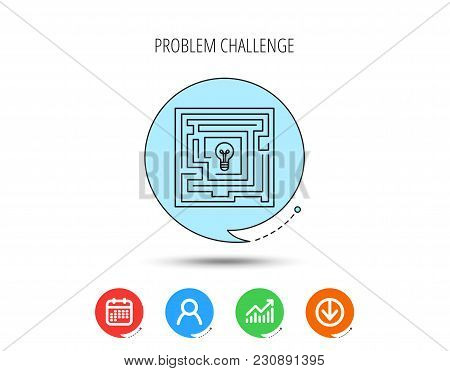 Labyrinth Icon. Problem Challenge Sign. Find Solution Symbol. Calendar, User And Business Chart, Dow