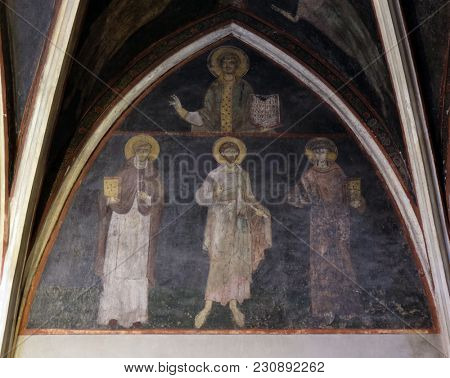 ZAGREB, CROATIA - APRIL 04: Fresco in the Sacristy of Zagreb cathedral dedicated to the Assumption of Mary in Zagreb, Croatia on April 04, 2015.