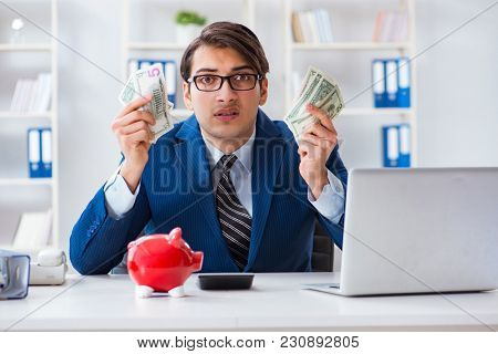 Businessman thinking about his savings during crisis
