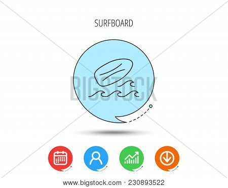 Surfboard Icon. Surfing Waves Sign. Calendar, User And Business Chart, Download Arrow Icons. Speech