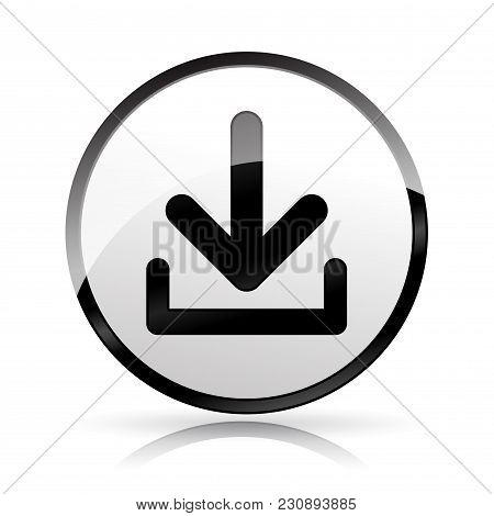 Illustration Of Download Icon On White Background