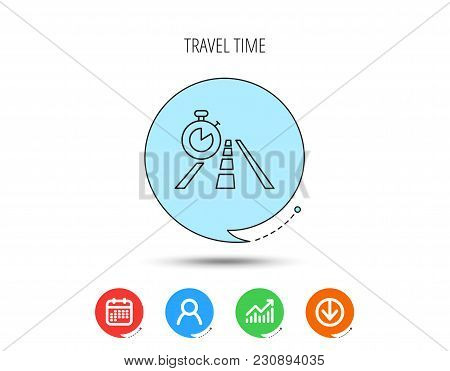 Travel Time Icon. Road With Timer Sign. Calendar, User And Business Chart, Download Arrow Icons. Spe