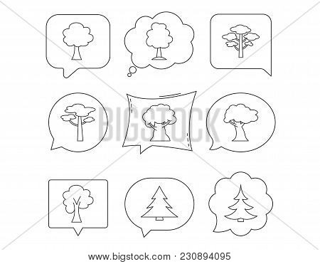 Pine Tree, Maple And Oak Icons. Christmas Trees Linear Signs. Forest Trees Flat Line Icons. Linear S