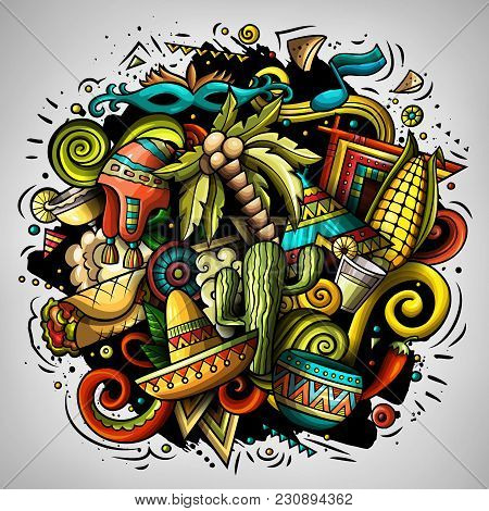 Cartoon Vector Doodles Latin America Illustration. Colorful, Detailed, With Lots Of Objects Backgrou