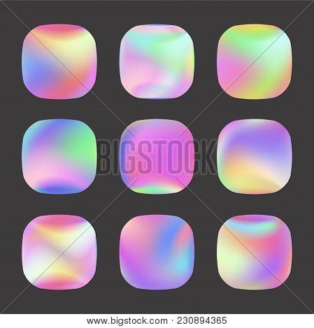 Set Of Holographic Vector Background. Iridescent Foil. Glitch Hologram. Pastel Neon Rainbow. Metalli