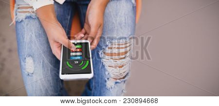 Mobile display with memory cleaner against woman using phone