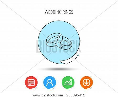 Wedding Rings Icon. Bride And Groom Jewelery Sign. Calendar, User And Business Chart, Download Arrow