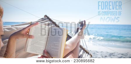 Forever is composed of nows against brunette reading book while relaxing on hammock