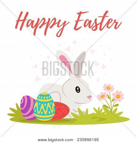 Vector Cartoon Style Illustration Of Easter Day Greeting Card With Cute Bunny Sitting On The Meadow
