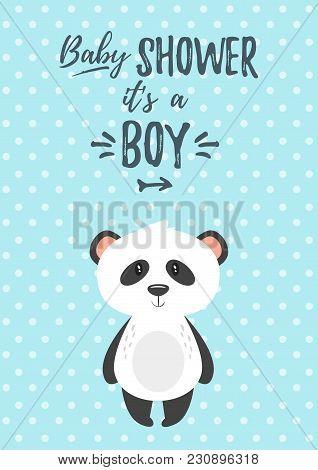 Vector Cartoon Style Illustration Of Baby Shower Invitation. Baby Boy Celebration Greeting Card Temp